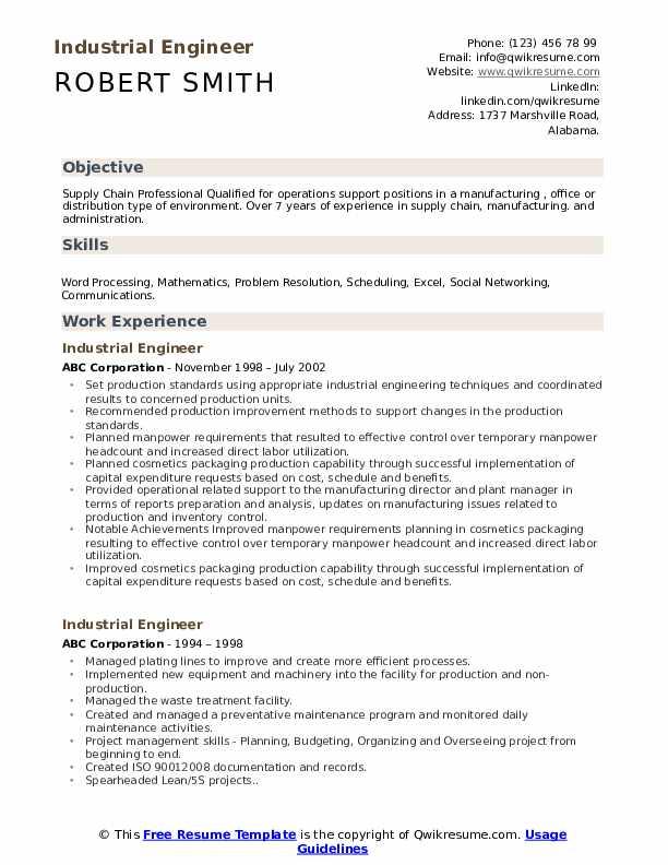 Industrial Engineer Resume Format