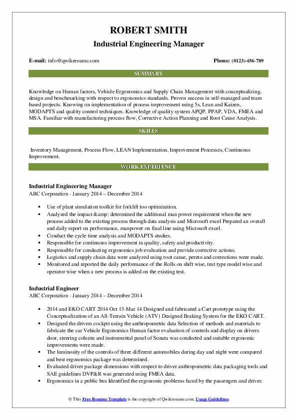 Industrial Engineering Manager Resume Model