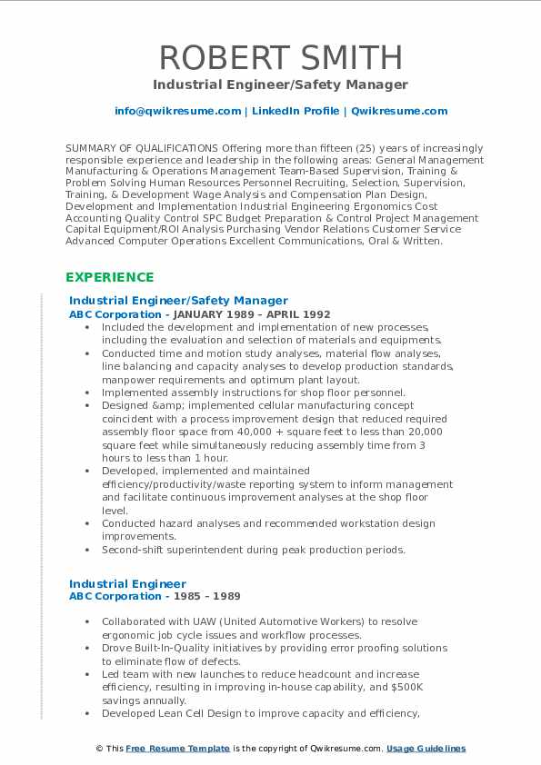 Industrial Engineer/Safety Manager Resume Format