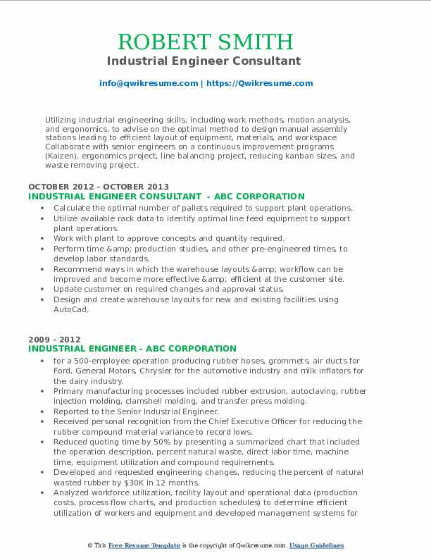 Industrial Engineer Consultant  Resume Example