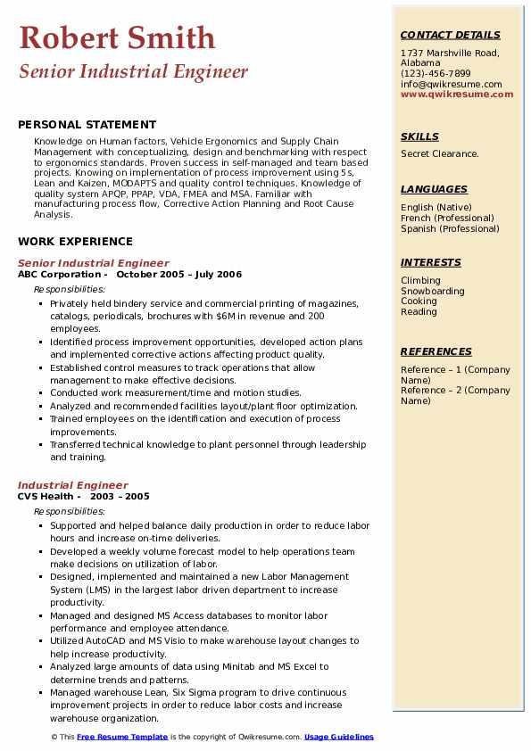 Senior Industrial Engineer Resume Model