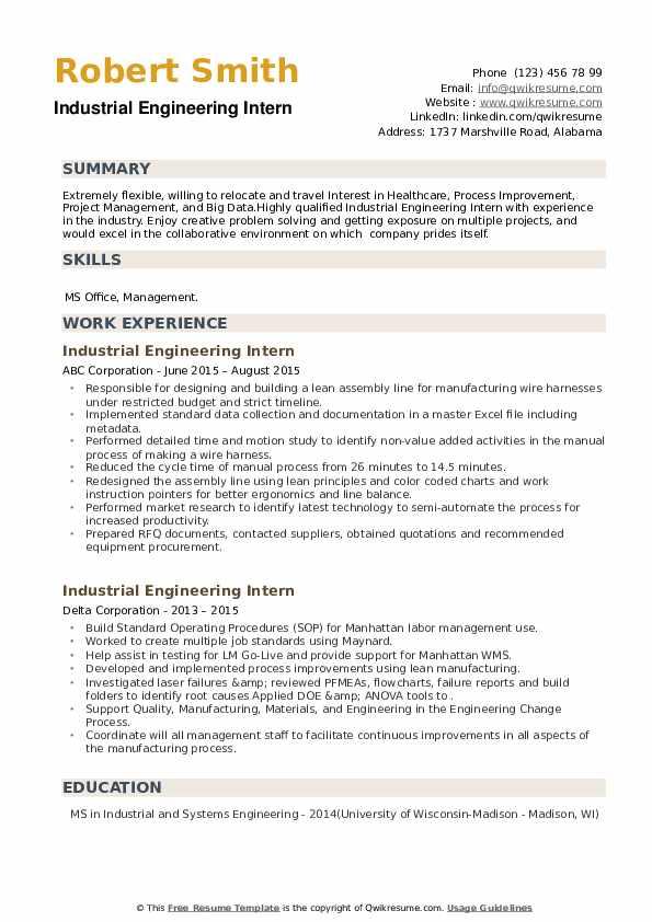 Industrial Engineering Intern Resume example