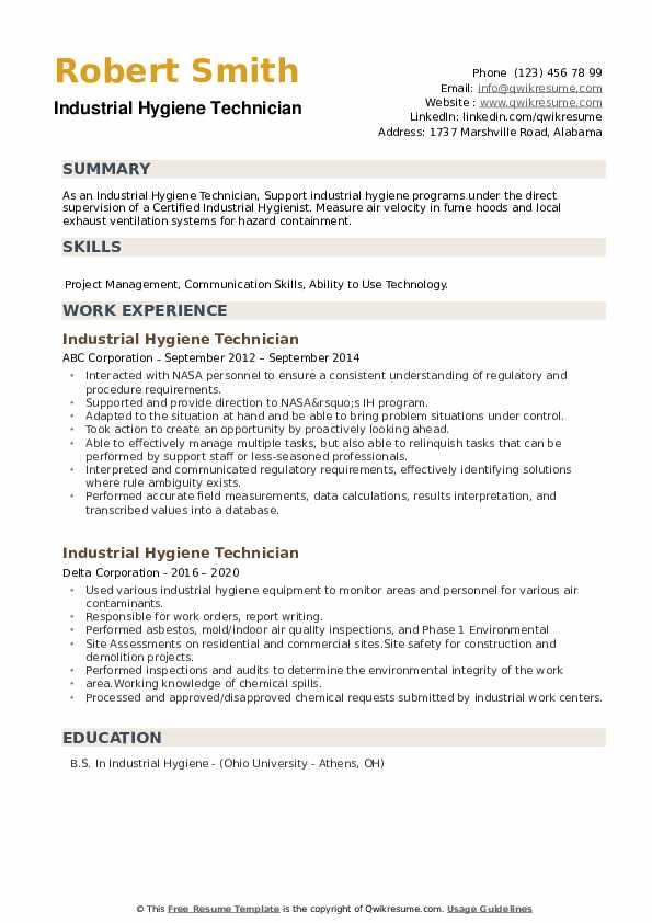 Industrial Hygiene Technician Resume example