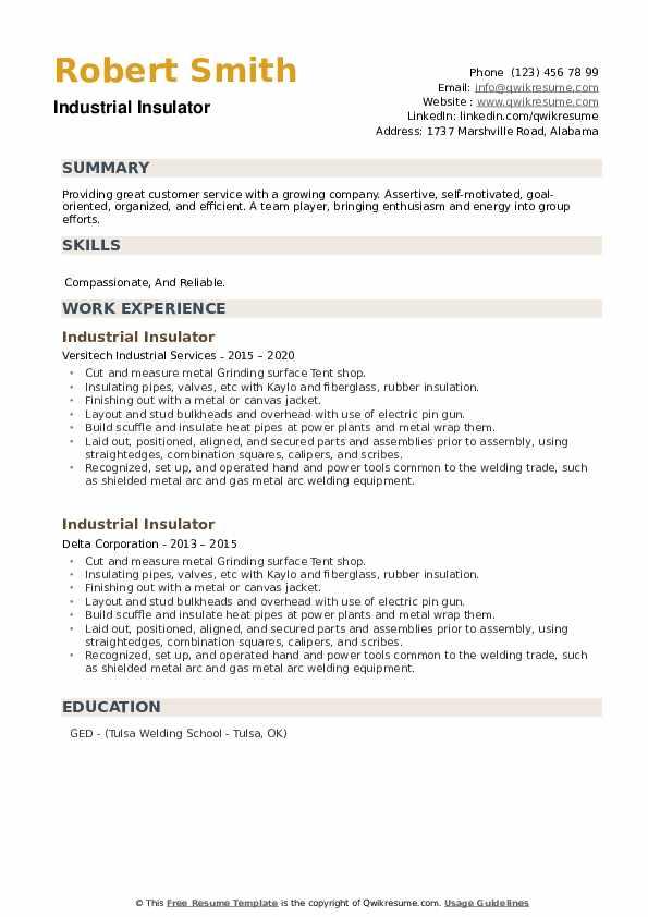 Industrial Insulator Resume example