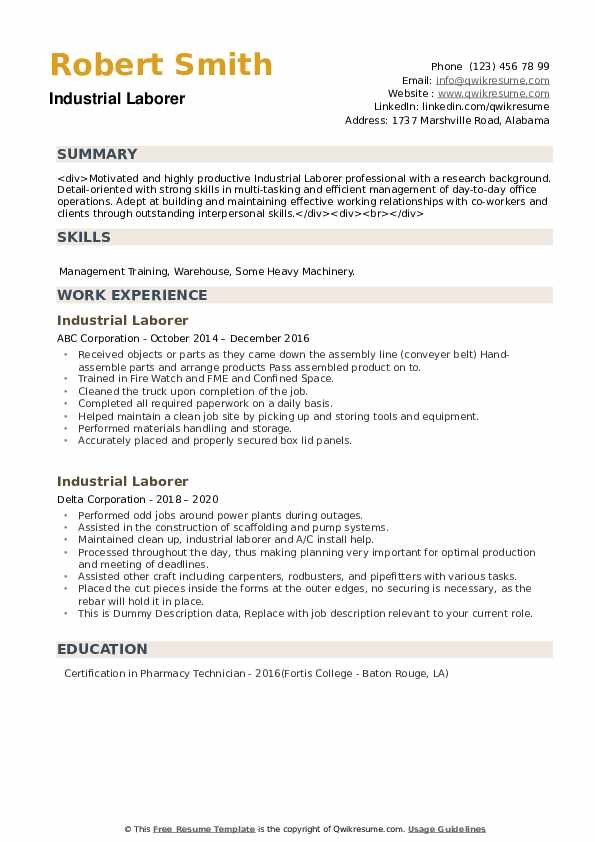 Industrial Laborer Resume example