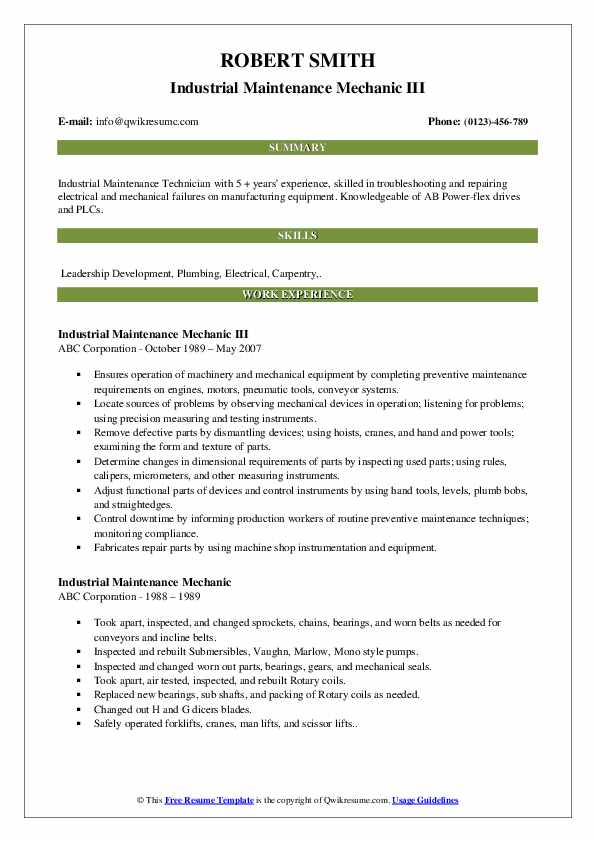 Industrial Maintenance Mechanic III Resume Format
