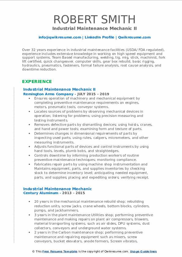 Industrial Maintenance Mechanic II Resume Model