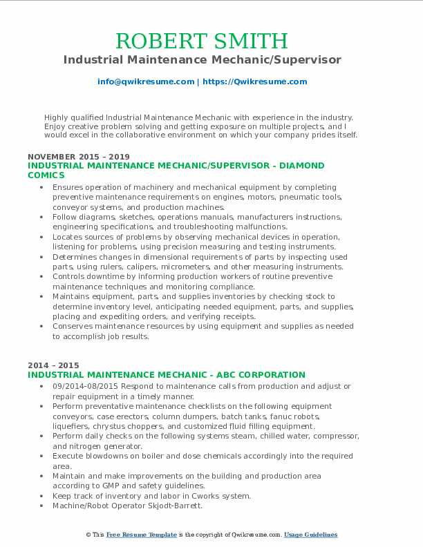 Industrial Maintenance Mechanic/Supervisor Resume Model
