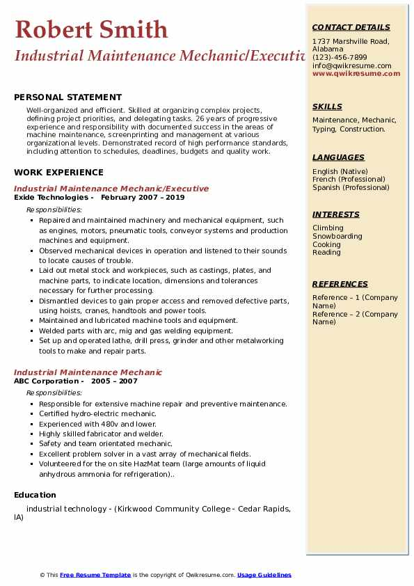 Industrial Maintenance Mechanic/Executive Resume Model