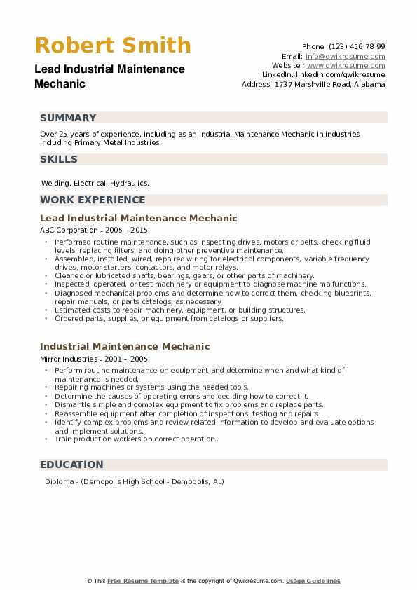 Lead Industrial Maintenance Mechanic Resume Sample