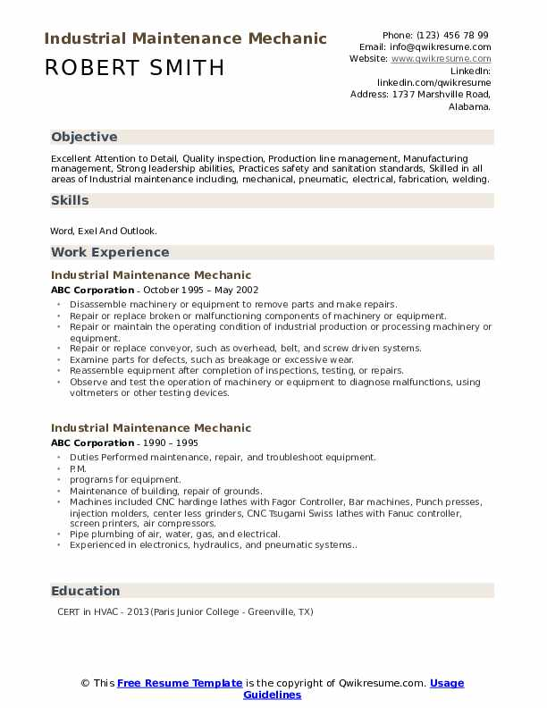 Industrial Maintenance Mechanic Resume example