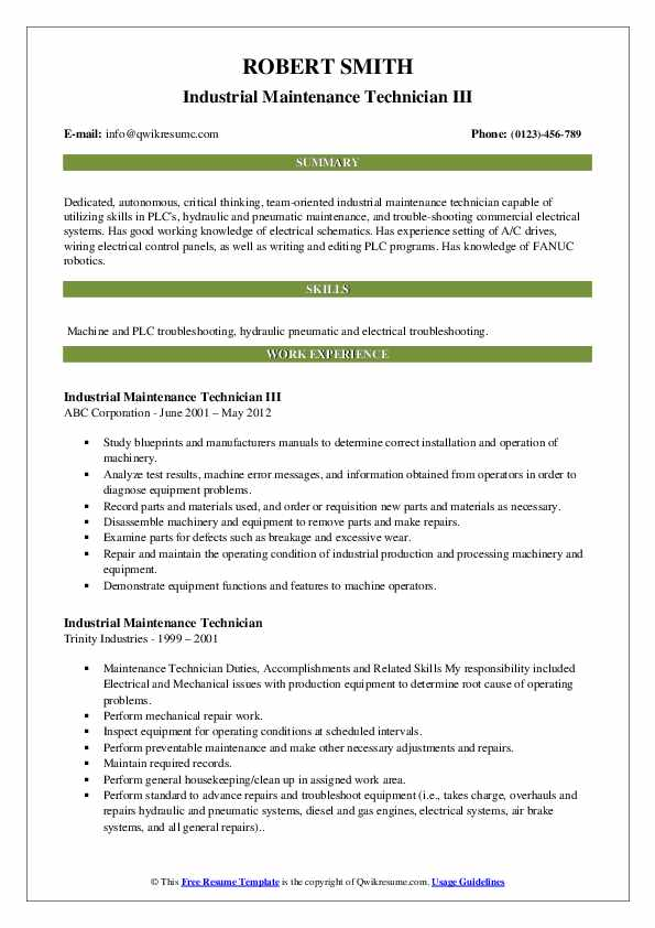 Industrial Maintenance Technician Resume Samples | QwikResume