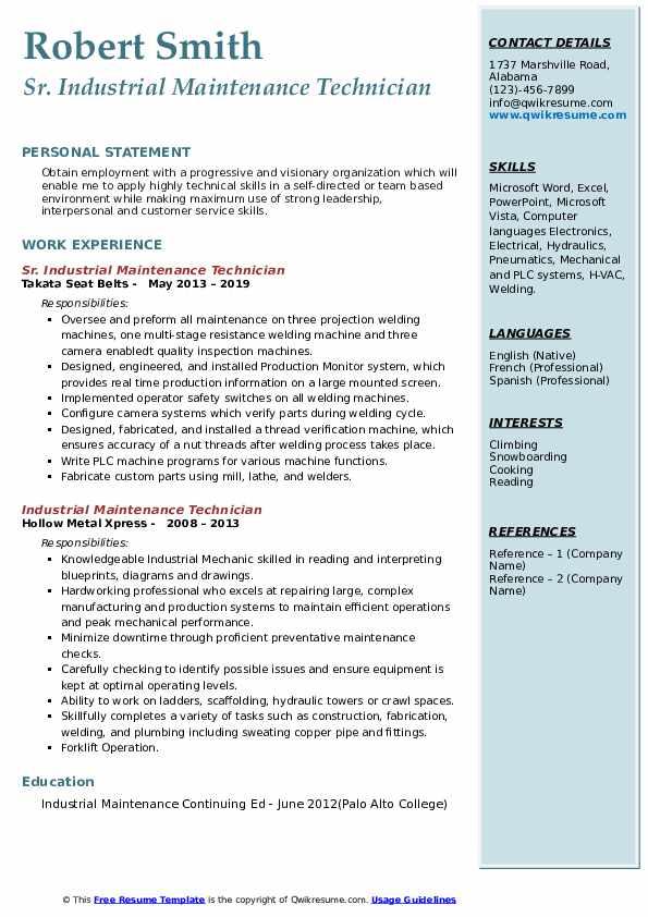 sample resume for industrial maintenance technician  best