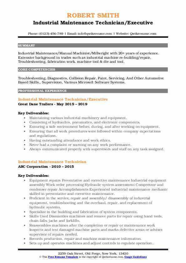 industrial maintenance technician resume samples
