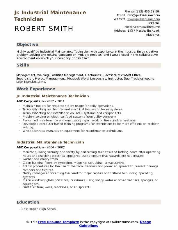 Industrial Maintenance Technician Resume Samples | QwikResume