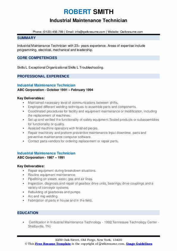 Industrial Maintenance Technician Resume Samples Qwikresume