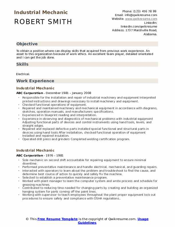 Industrial Mechanic Resume Template