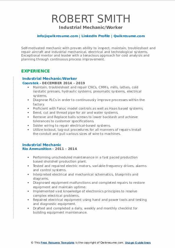 industrial mechanic resume samples  qwikresume