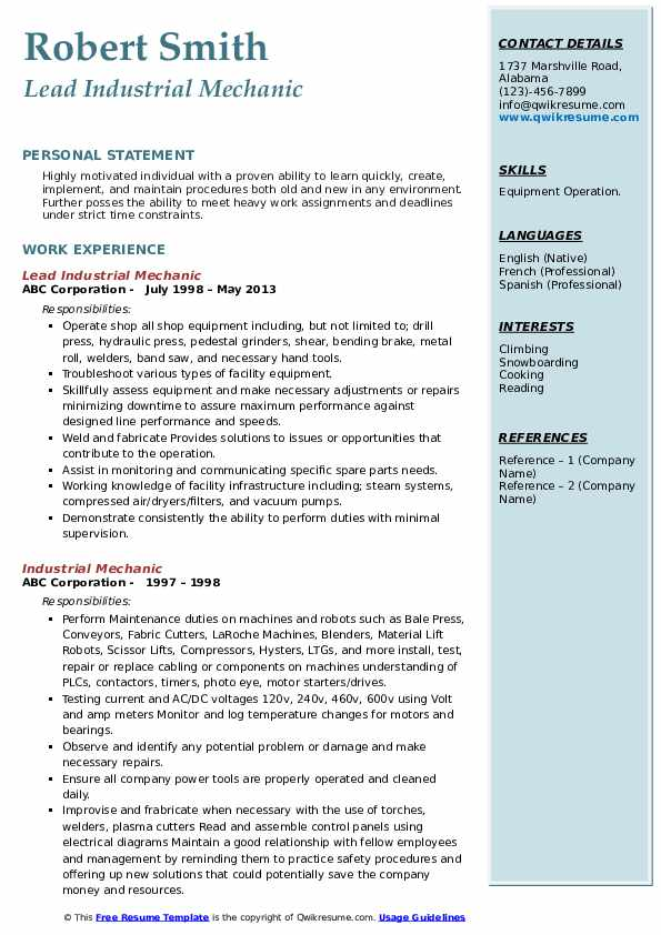 Lead Industrial Mechanic Resume Template
