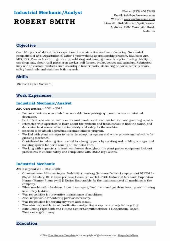 Industrial Mechanic/Analyst Resume Format