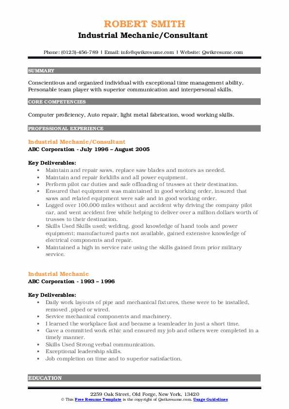 Industrial Mechanic/Consultant  Resume Format