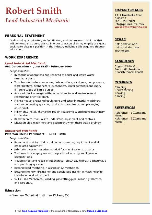 Lead Industrial Mechanic Resume Model