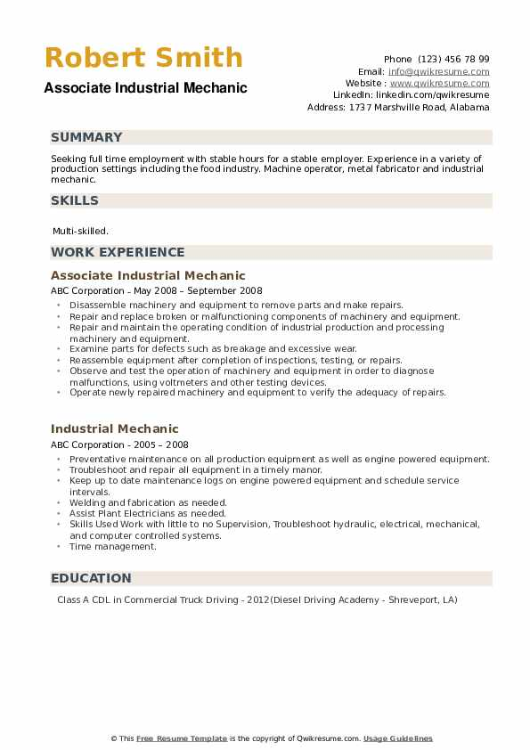 Associate Industrial Mechanic Resume Example
