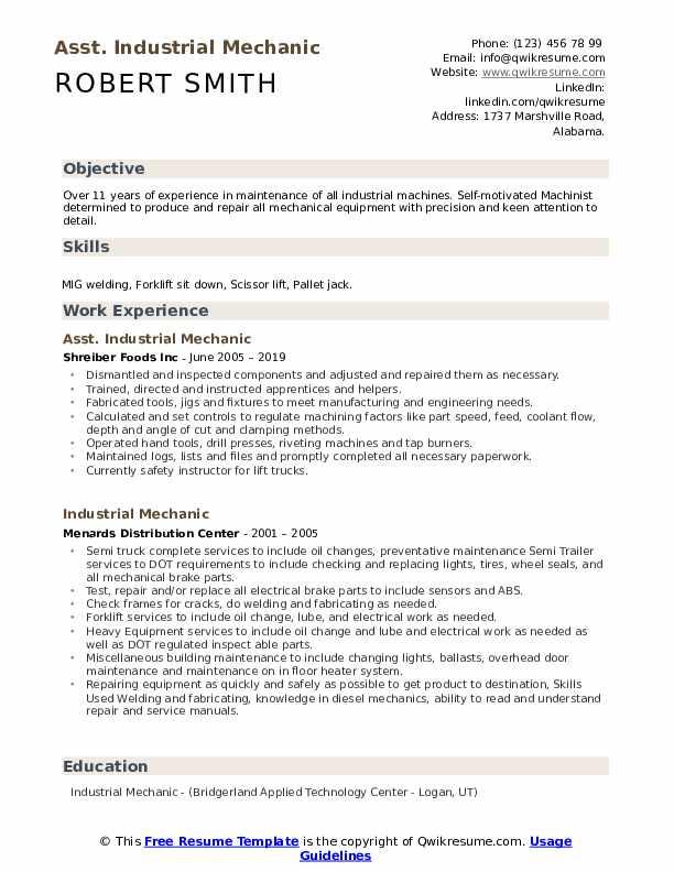 Asst. Industrial Mechanic Resume Example