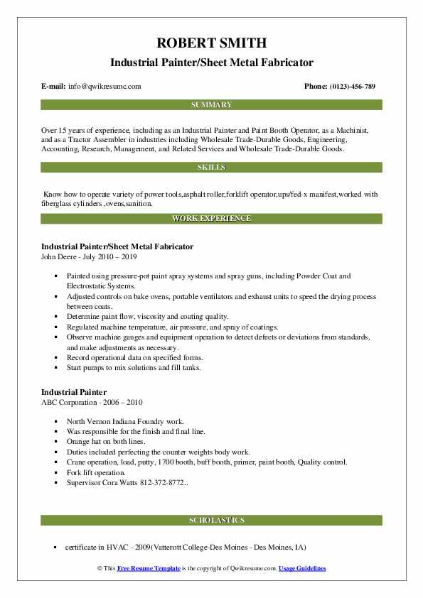 Industrial Painter/Sheet Metal Fabricator Resume Sample