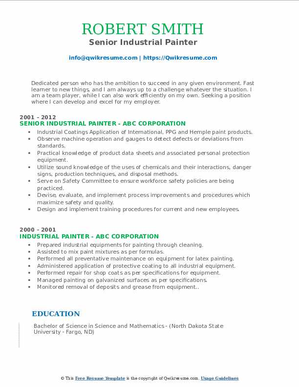 Senior Industrial Painter Resume Format