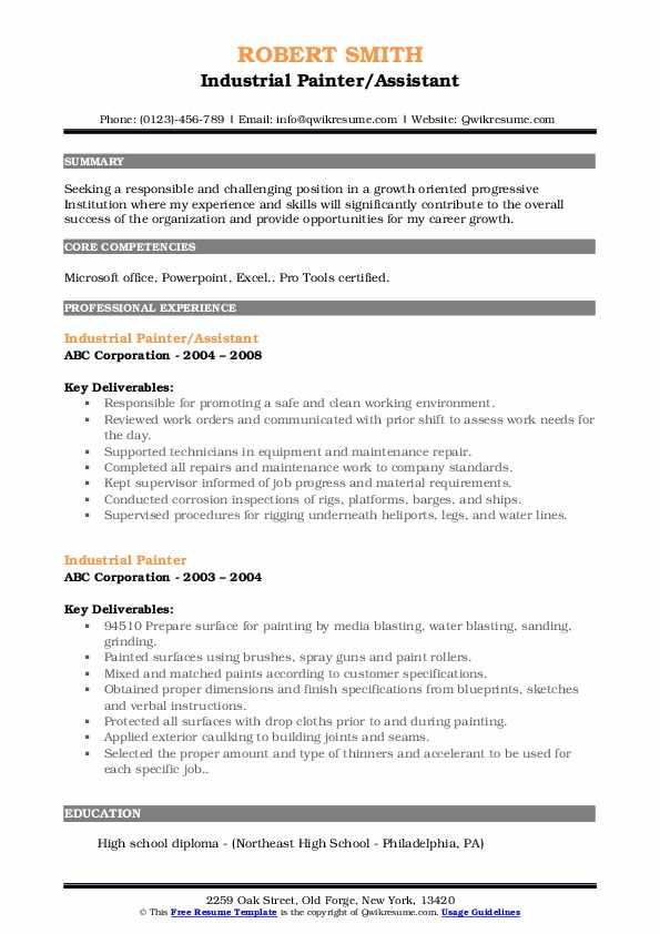 Industrial Painter/Assistant Resume Format