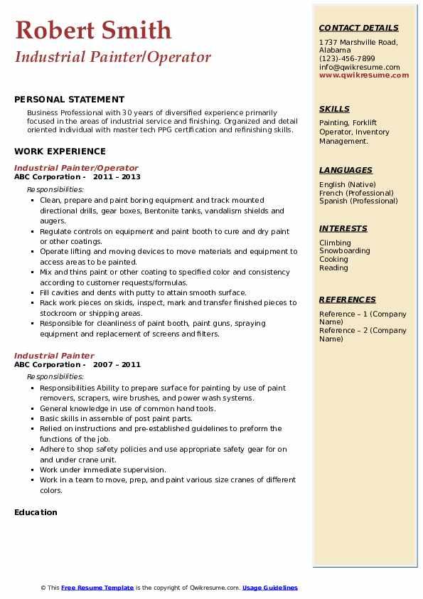 Industrial Painter/Operator Resume Example
