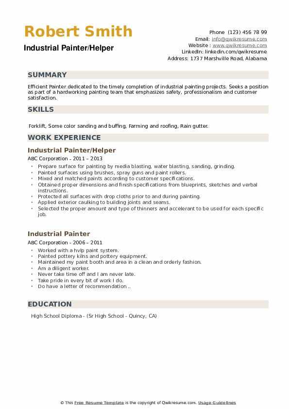 Industrial Painter/Helper Resume Format