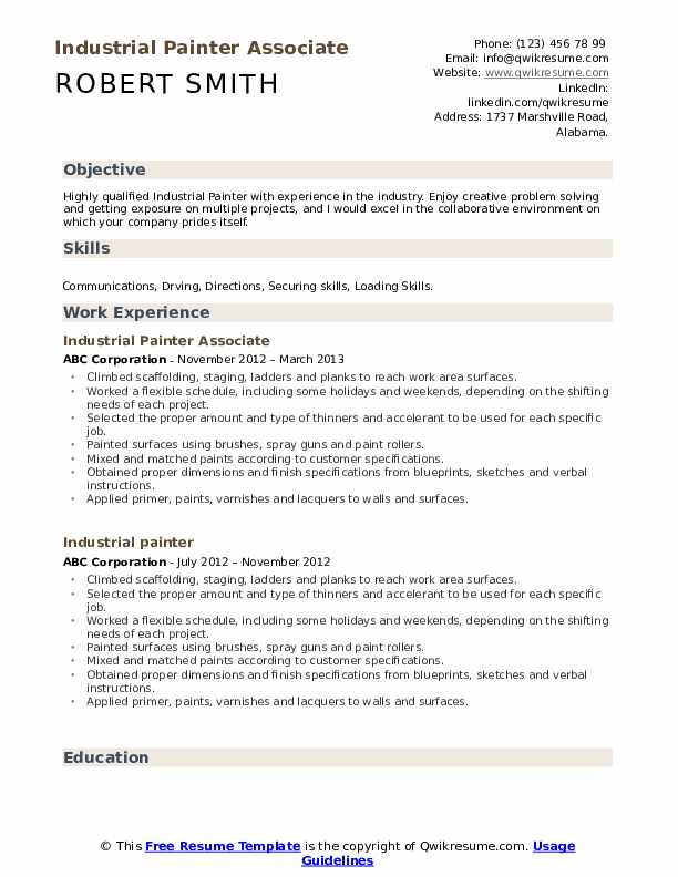 Industrial Painter Associate Resume Sample