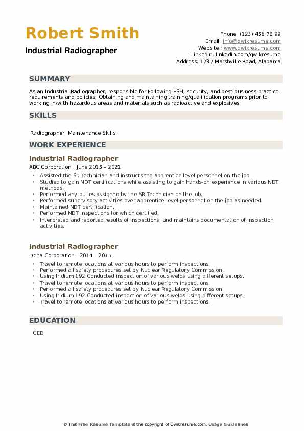 Industrial Radiographer Resume example