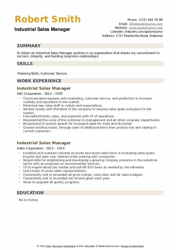 Industrial Sales Manager Resume example