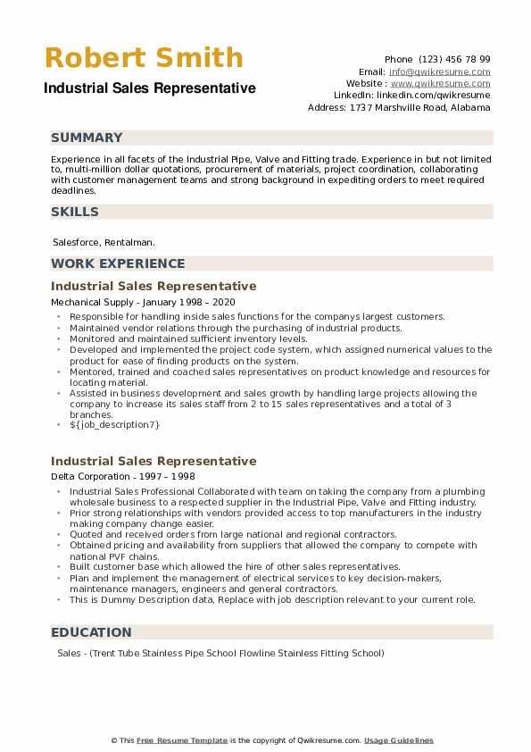 Industrial Sales Representative Resume example