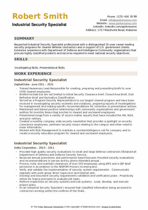 Industrial Security Specialist Resume example