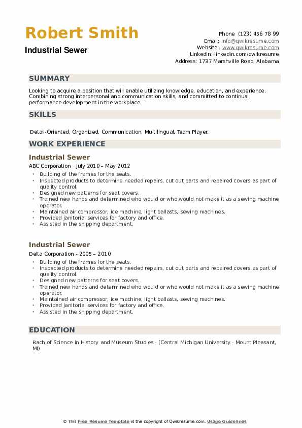 Industrial Sewer Resume example
