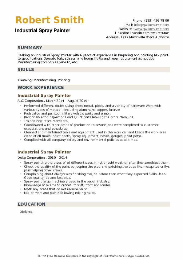 Industrial Spray Painter Resume example