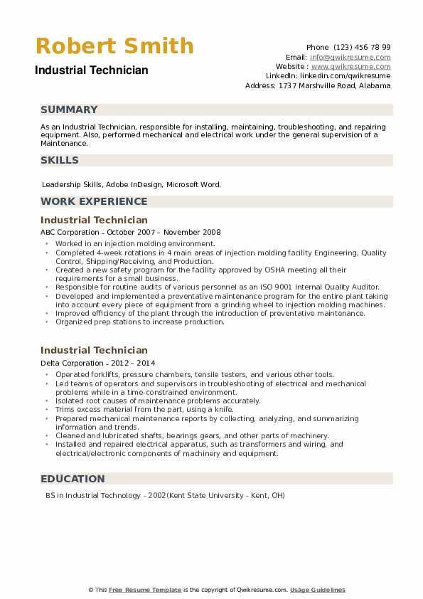 Industrial Technician Resume example