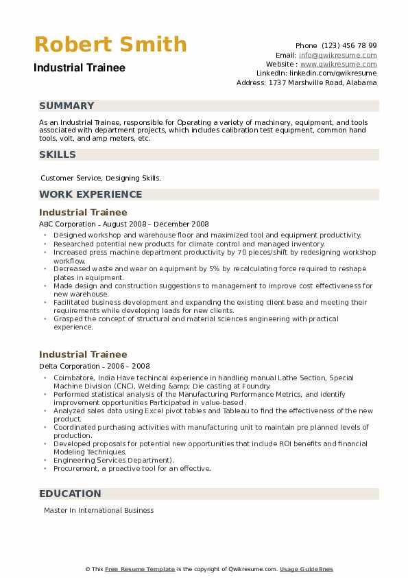 Industrial Trainee Resume example