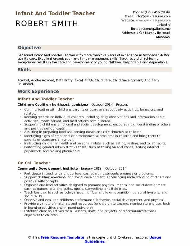 Infant And Toddler Teacher Resume Example