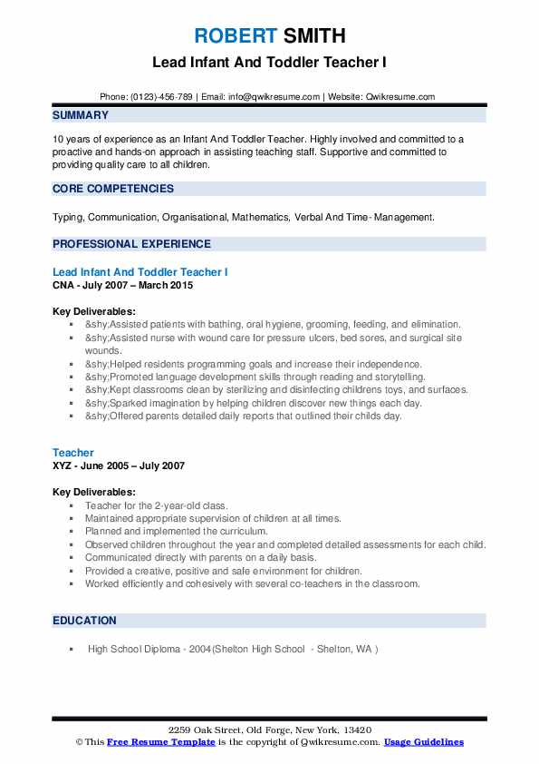 Lead Infant And Toddler Teacher I Resume Example