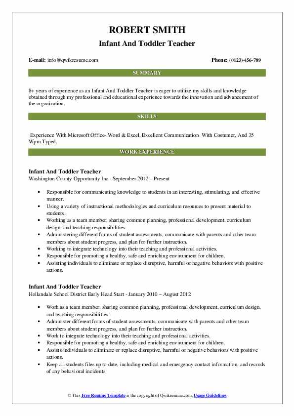 Infant And Toddler Teacher Resume Template