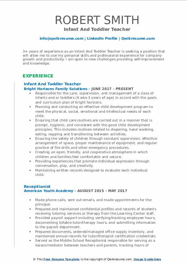 Infant And Toddler Teacher Resume Samples Qwikresume