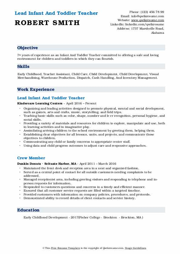Lead Infant And Toddler Teacher Resume Example