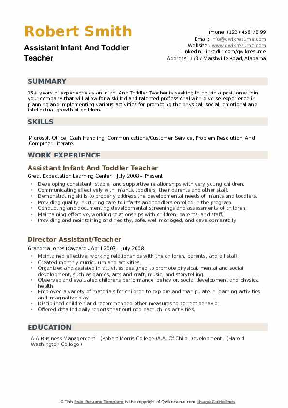 infant and toddler teacher resume samples