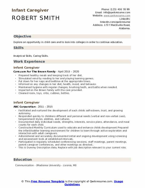 Infant Caregiver Resume example