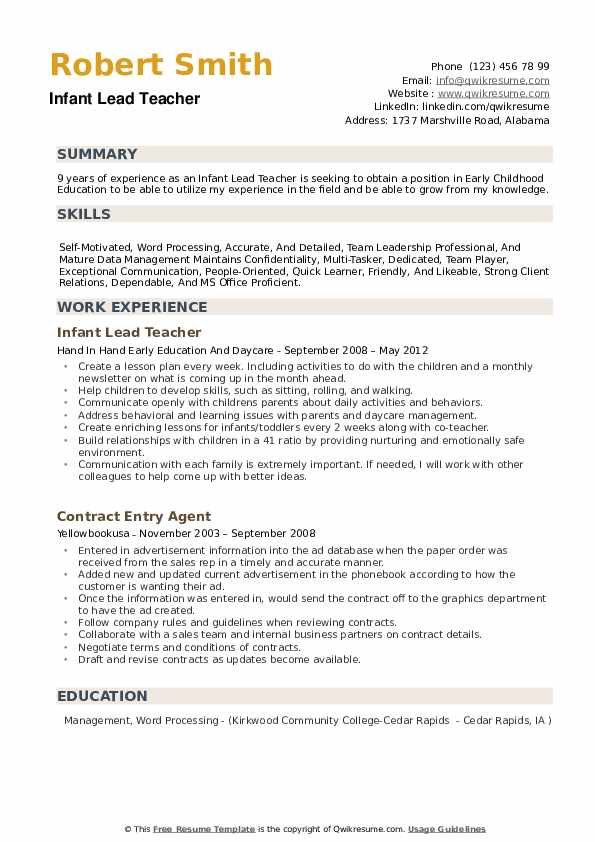 infant lead teacher resume samples